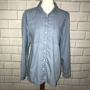Ann Taylor LOFT Denim Medium Button Up Shirt